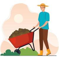 Hombre de jardinería con diseño de vector de carretilla