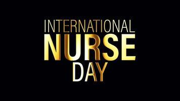 Elemento isolado do laço de texto dourado do dia internacional da enfermeira video