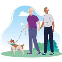old couple walking with dog pet in the park vector