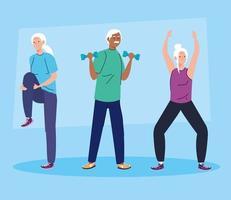 senior people group practicing sport vector