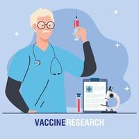 medical vaccine research doctor with syringe and laboratory instruments development coronavirus covid19 vaccine vector