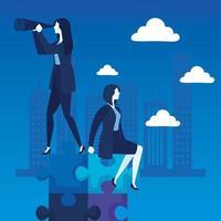 elegant businesswomen with telescope characters vector