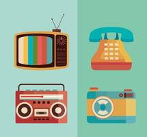 bundle of four retro devices icons vector