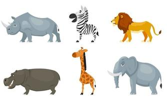 Conjunto de vista lateral de animales africanos vector