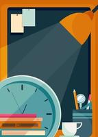 Poster template with board table lamp and clock vector