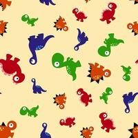 Seamless Pattern with funny character Dino vector