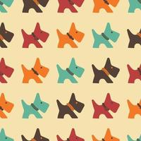 Seamless Pattern With Silhouette of Dog With Diferent Collars vector