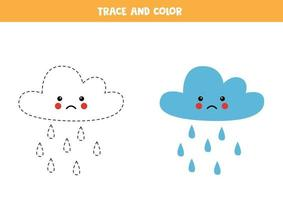 Trace and color cute rain cloud Worksheet for kids vector