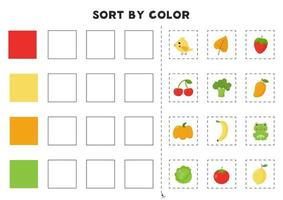 Sort by color Educational game for learning primary colors vector