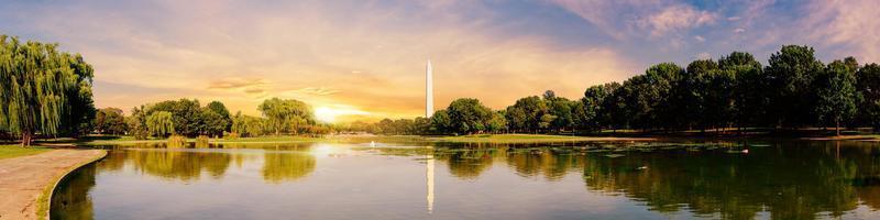 Panorama view of Washington Monument reflected on a lake in Washington DC photo