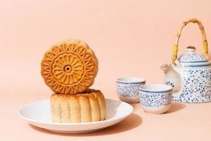 Chinese moon cake on plate photo