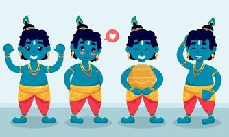 Janmasthami Character Set in Different Pose vector