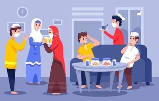 Family Eid Celebration Gathering vector