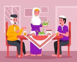 Family Gathering of Eid Celebration vector
