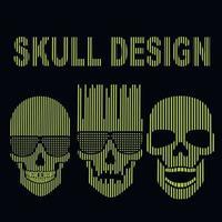 set digital sign with skull, vintage design t shirts vector