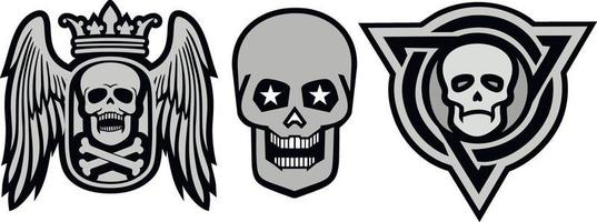 Set Gothic sign with skull, grunge vintage design t shirts vector