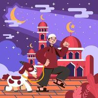 Happy Eid Adha Goat and Friend vector