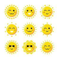 conjunto de iconos de elemento de sol de dibujos animados vector