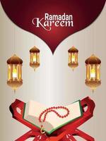 Ramadan kareem islamic festival celebration greeting card vector