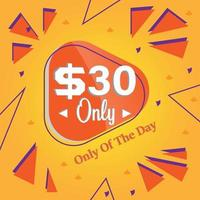 thirty Dollars only deal of the day promotion banner or poster vector