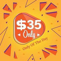 thirty five Dollars only deal of the day promotion banner or poster vector