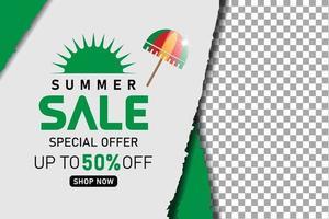 summer sale promotion green banner or poster vector