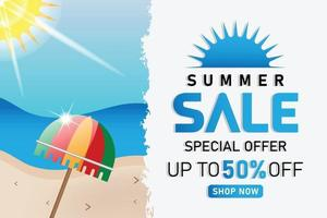 summer sale beach umbrella promotion banner or poster vector