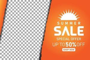 summer sale promotion orange banner or poster vector