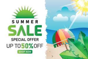 summer sale beach green sunshine promotion banner or poster vector