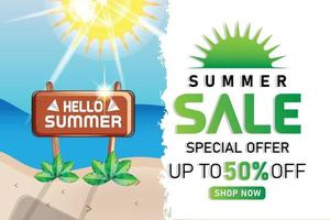 summer sale beach sunshine promotion simple banner or poster vector