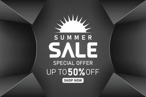 summer sale black promotion banner or poster vector