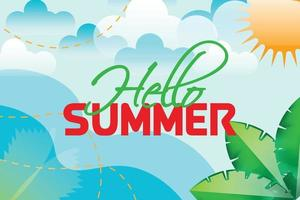 hello summer with clouds background vector