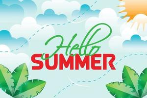 hello summer clouds background vector