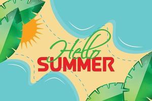 hello summer leaf background vector