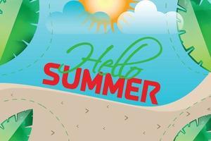 hello summer beach background vector