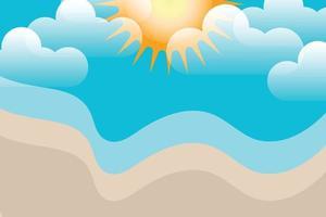 summer beach and clouds beckground vector