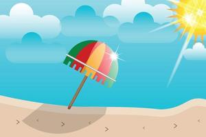 summer beach umbrella sunshine background vector