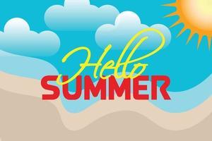 hello summer beach and sun background vector
