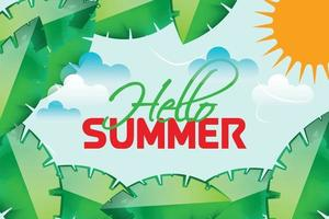 hello summer leafs nature background vector