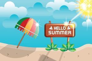 hello summer beach sunshine background vector