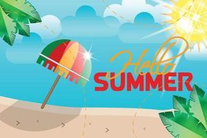hello summer umbrella wth sunshine background vector