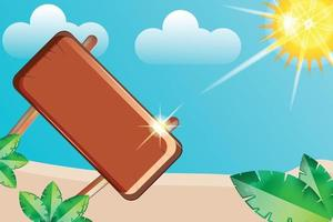 summer beach with empty board background vector
