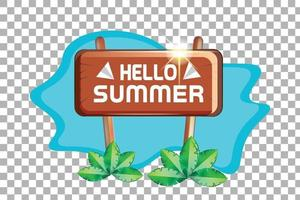 hello summer wooden board with small sea background vector