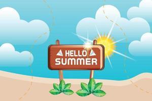 summer beach and sun background vector