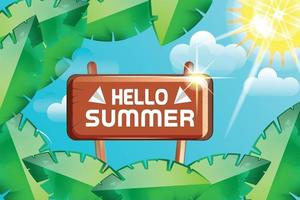 hello summer leafs with sunshine nature background vector