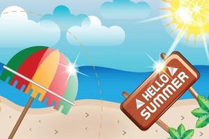 hello summer beach sunshine with umbrella background vector