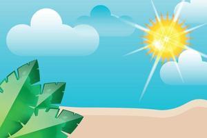 summer beach leafs wth sunshine background vector