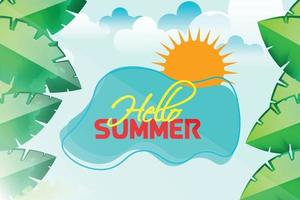 summer leafs nature background vector