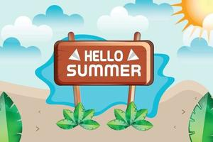 summer beach and clouds background vector