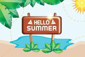 hello summer wooden board with small sea leafs nature background vector